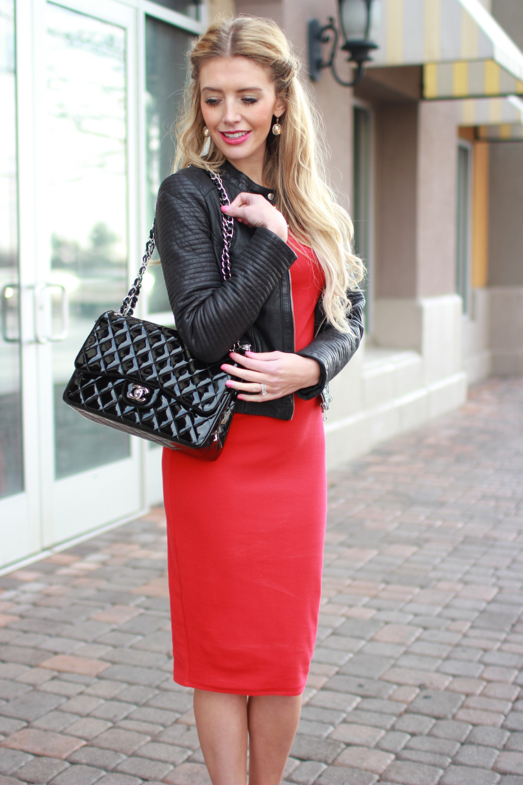 Red dress black leather jacket