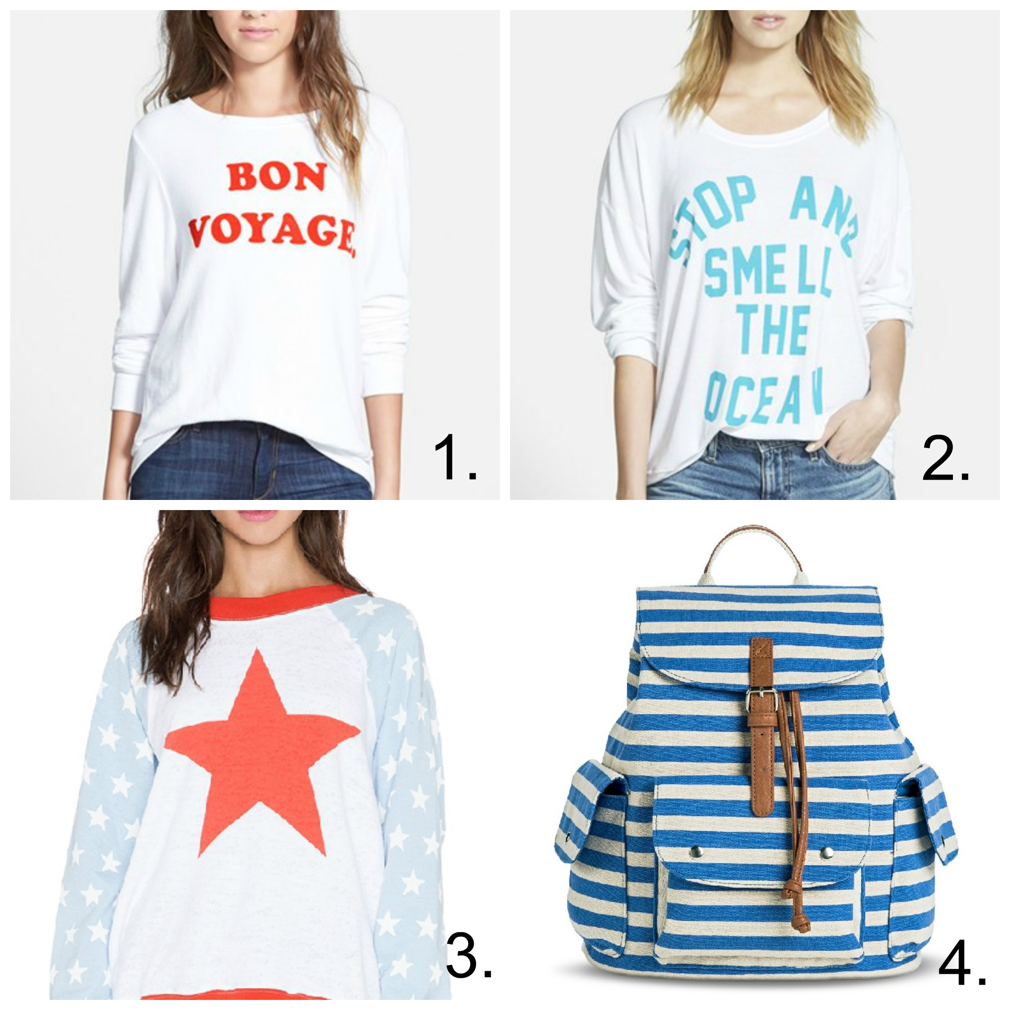wildfox pullovers red-white-blue